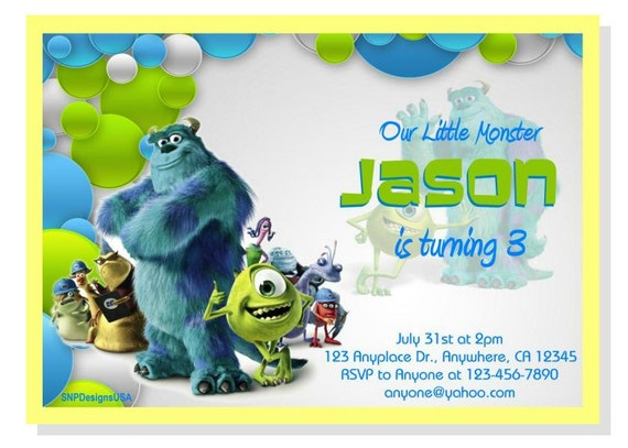 Monsters Inc Birthday Invitations can inspire you to create best invitation template