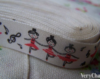 5.46 Yards (5 meters) Lovely Ballet Girl Print Cotton Ribbon Label String A2570