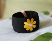 Handmade cloth covered Bangle with flower
