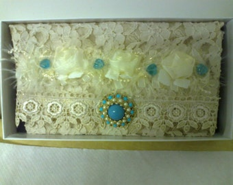 Stunning handmade vintage style lace clutch bag
