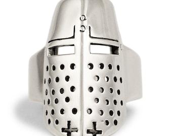Silver Crusader Knight Ring Lancelot Medieval Templar Helmet Ring in Sterling Silver 925 - All Sizes