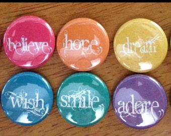 Inspirational Words Button Set of 10 Pinback Buttons