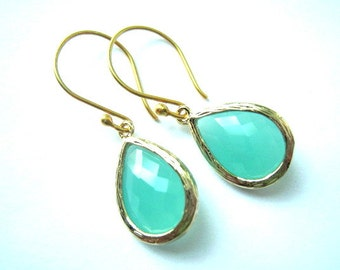 Aqua Gold Earrings, Aqua Mint Earring, Vermeil Wires