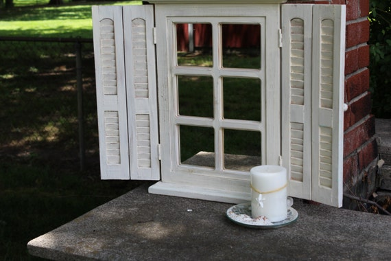 Shabby Chic Off White Distressed Shutter Mirror