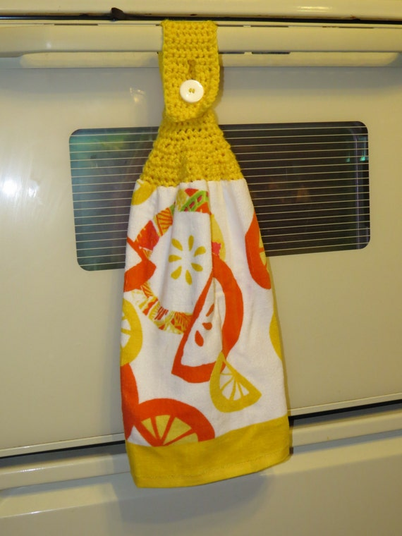 Crochet kitchen topper towel lemon yellow by komfortknits on etsy