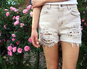 Highwaisted Denim Shorts (Khaki Colored) (Studs & Distressing)