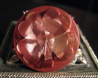 Pink Four Leaf Clover Czech Glass Button