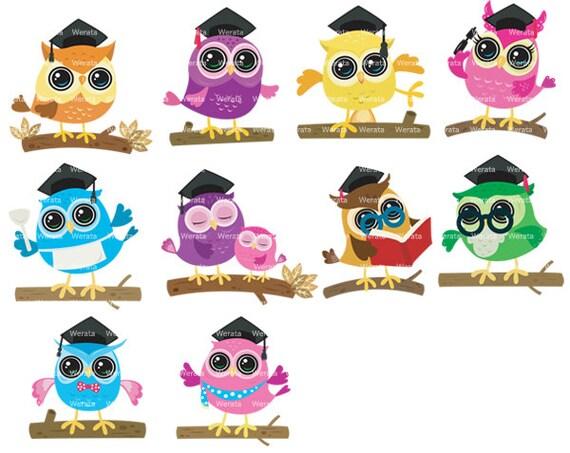 Items similar to Graduation Owls Clipart Clip Art ...