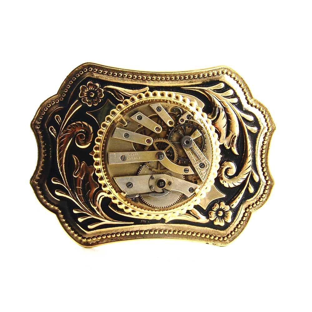 Steampunk mens Belt Buckle Gold Tone Antique Brass 1880's