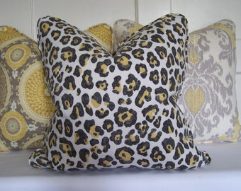 Decorative Pillows, Charcoal and Yellow Cheetah Animal Print Designer Pillow Cover with Piping,Accent Pillow,