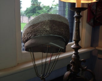1960's Taupe & Cream Turban style straw hat