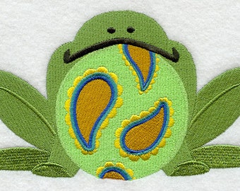 Patterned Froggy Embroidered Terry Cloth Bib