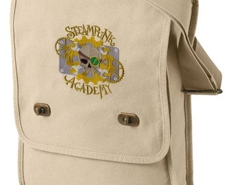 Steampunk Academy Canvas Embroidered Field Bag