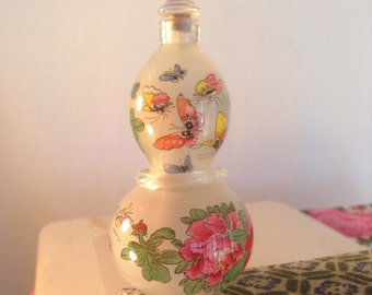 Asian perfume bottle, hand painted, unused ,perfume bottle, in box ,flowers ,butterfly's ,small