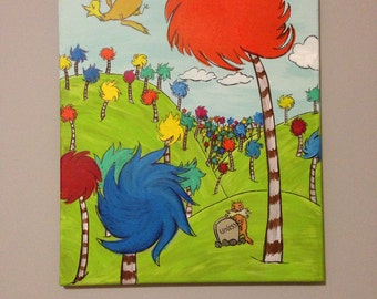 Dr. Seuss Lorax Tree inspired Acrylic Painting