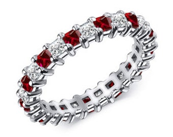 1.50 Ctw. Ruby And Diamond Eternity Band