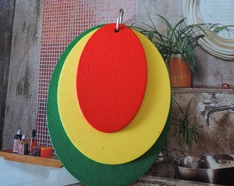 Two sets green/yellow/red  oval  wood circle earring/pendant/charm (W208)