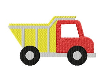INSTANT DOWNLOAD Dump Truck Construction Vehicle Machine Embroidery Design Includes Both Applique and Filled Stitch
