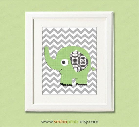 green and grey nursery art print 8x10 children wall art