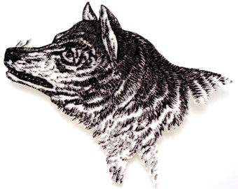 Direwolf  Brooch - Black and White Direwolf Illustration Pin