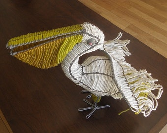 African Beaded Wire Animal Sculpture - PELICAN - Large