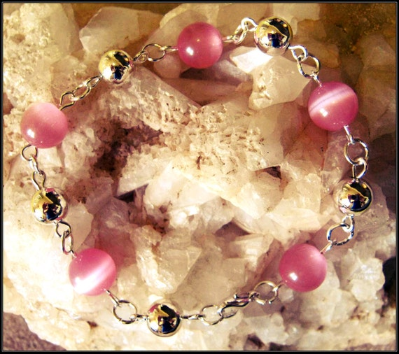 Handmade Silver Bracelet with Pink Cat Eye by IreneDesign2011