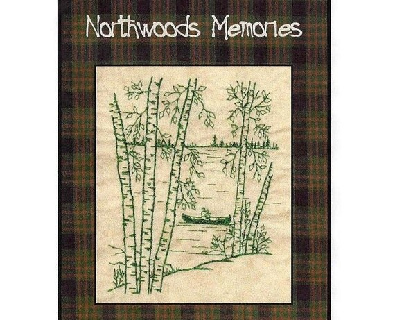 Northwoods Memories Canoeing - Redwork Hand Embroidery Pattern by Beth Ritter - Instant Digital Download
