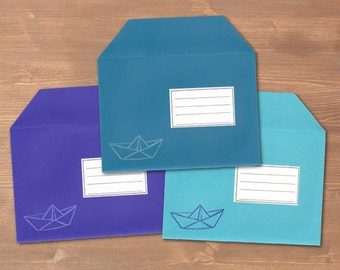 Paper boat - 3 handmade and handprinted envelopes