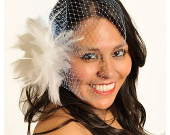 Arielle- Blue Birdcage Veil, Wedding Veil, Wedding Hair Piece, Wedding Hair Accessory, Feather Flower Veil, Short Veil, Free Shipping