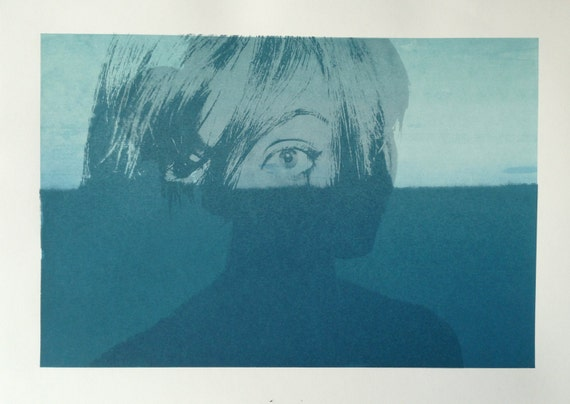 "Blue Toned Screen Print, ""XX"", 15"" x 21"" // Art // Home Decor // Wall Artwork // Blue // Turquoise // Eye // Girl // Eyes // Shadow // Mint"
