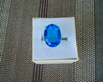 Created Swiss Blue Topaz Ring Sterling Silver - 18x13 mm