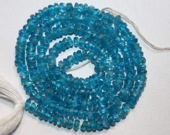 Natural AAA Quality Neon Blue Apatite 3 to 4mm Faceted Rondell 13 inches long Strand PRN567
