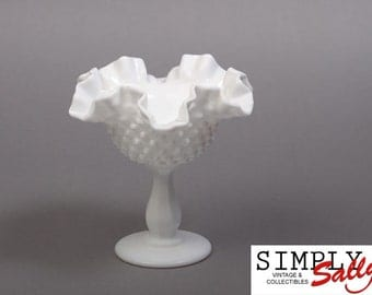 Hobnail Milk Glass Pedestal Dish with ruffled top