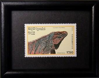 Furcifer pardalis Cyclura macleayi -Handmade Framed Postage Stamp Art 12953