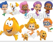 BUBBLE GUPPIES Characters Individuals Custom cake topper image decoration party Birthday sheet