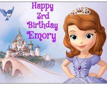 SOFIA the first EDIBLE image cake topper decoration party birthday Custom cupcake round princess Sophia
