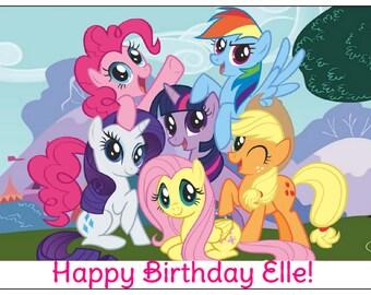 MY LITTLE PONY image cake topper decoration party birthday Custom cupcake round edible sugar sheet