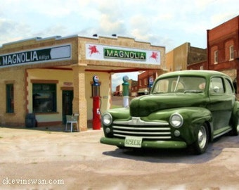 Magnolia, 24x36 photo painting, a 1947 Ford on Rout 66
