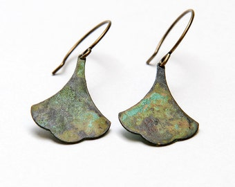Verdigris ginkgo earrings. Hand crafted  verdigris blue green brass ginkgo leaf earrings. Boho flower earrings.