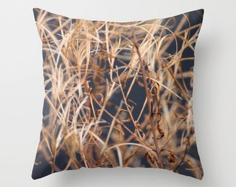 Dry Grass, Pillow Cover, 16x16, home decoration, Fall Deco, macro, brown, botanical