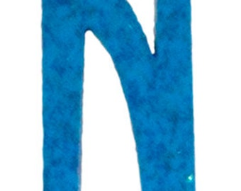 Turquoise Blue Letter N