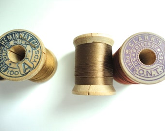 Vintage Pure Silk Hand Sewing Embroidery Thread 100 Yards Wooden Spool By Belding Brothers Brown