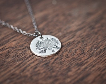queen annes lace necklace - flower necklace - sterling silver flower necklace - flower pendant - flower jewelry - queen annes lace pendant