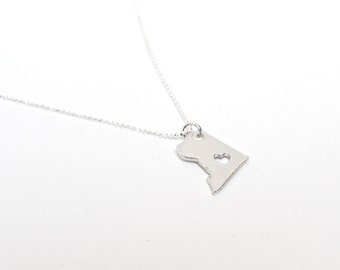 i heart Washington DC Necklace - Sterling Silver - Washington DC State Necklace State Charm Capitol Washington DC Necklace With Heart