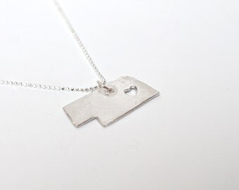 i heart Nebraska State Necklace - Silver - Nebraska Necklace NE Necklace Nebraska State Pendant NE State Charm Nebraska Necklace With Heart