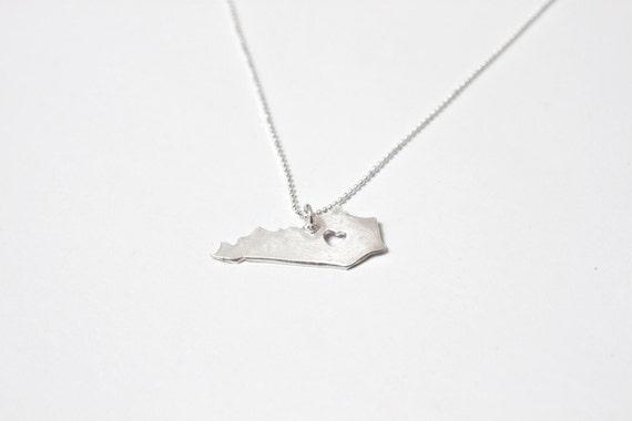 i heart Kentucky Necklace - Silver Kentucky State Necklace Custom State KY Heart Necklace KY Necklace Personalized State Heart Necklace
