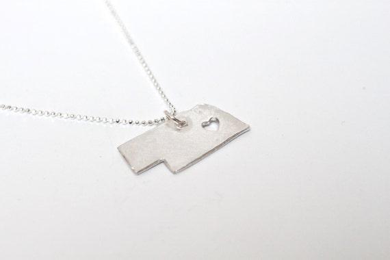 i heart Nebraska State Necklace - Silver - Nebraska Necklace NE Necklace Nebraska State Pendant NE State Charm Nebraska Necklace With Heart