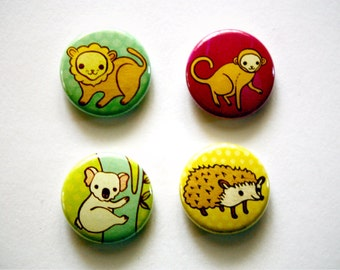 ANIMALS pinback button badges (koala monkey hedgehog lion) by boygirlparty - 1 inch buttons