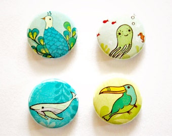 zoo ANIMALS button set (octopus button whale button toucan button peacock button) by boygirlparty - zoo animal button pack, blue and yellow