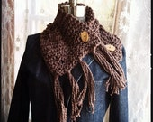 Cocoa organic cotton fringy 2 button scarflette Free Shipping